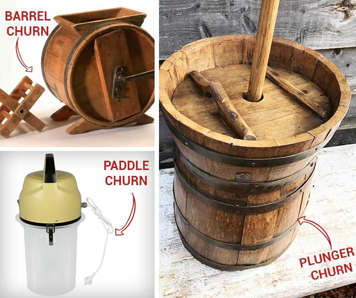 Kinds of butter churns