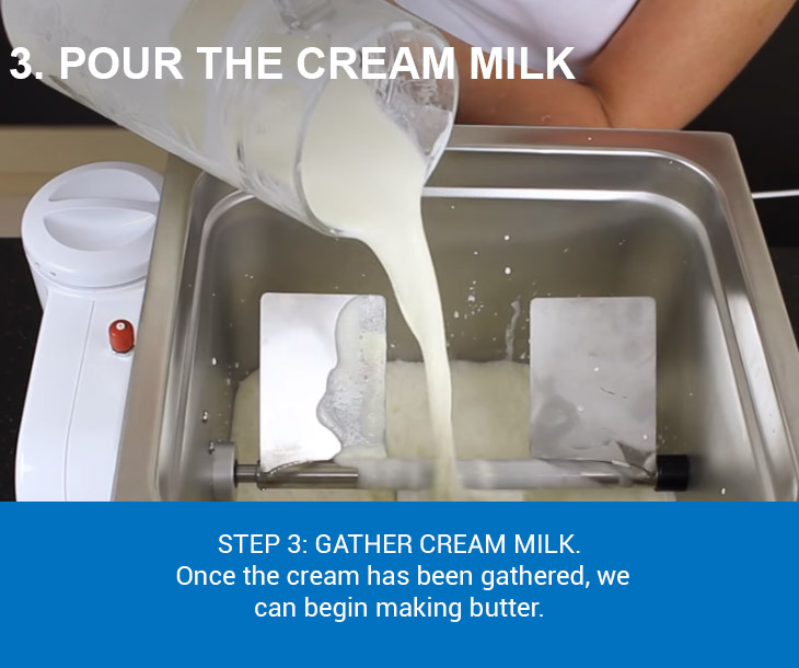 pour the cream milk